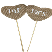 1 Pair Mr Mrs Design Cupcake Topper Picks Vintage Wedding Decoration Event Supplies Natural Jute Burlap Picks Rustic Decorate(China)