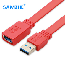 SAMZHE High-Speed USB 3.0 flat AM/AF data extension cable 0.6/1/1.5/3/5m Red