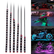 6pcs RGB 72 LED Flexiable Car Motorcycle LED Neon Strip Lamp Glow Light Flash Atmosphere Colorful Car Interior Lighting ME3L