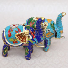 Wholesale 6pcs Chinese Handmade Cloisonne Elephant Key Chains&Christmas Ornament for christmas or other festival decoration(China)