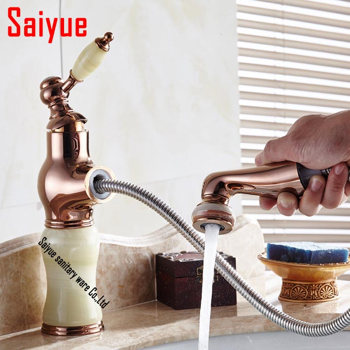 Rose gold brass Bathroom pull out sink  faucet with natural jade marble  basin mixer torneira single hole /handle water tap<br><br>Aliexpress