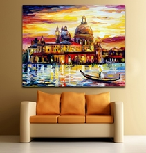 100% Hand-painted Palette Knife Painting America Italy Netherlands Cityscape Architecture Art Canvas Painting Home Decor(Hong Kong)