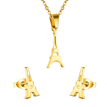 Fashional and New Products Eiffel Tower  Necklaces And Earrings Jewelry Sets,316 Stainless Steel,Free Shipping