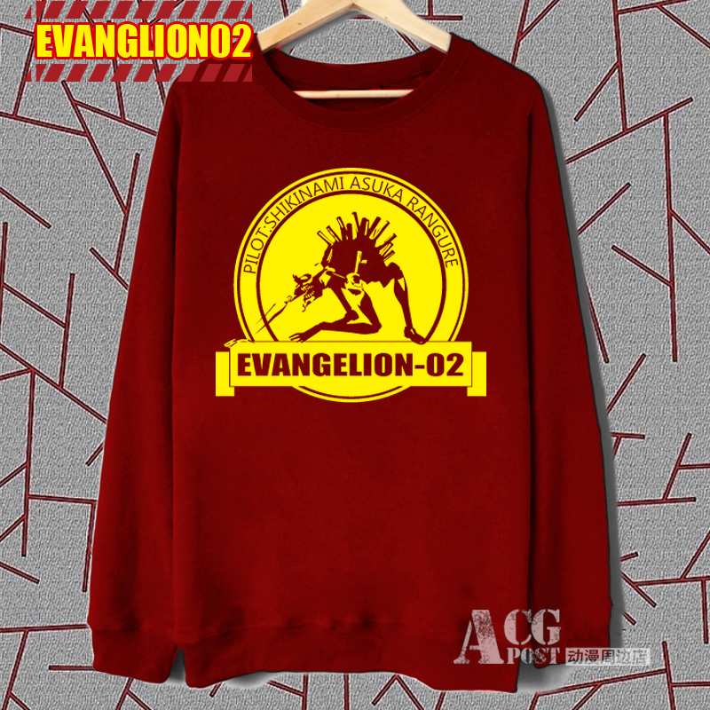 Anime! Neon Genesis Evangelion EVA-02 PRODUCTION MODEL Red Loop Round Collar Cosplay Hoodie Autumn Winter Top Free Shipping