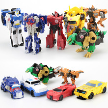 12CM Mini Pocket Funny Transformation Toys Deformation Cars Animals Robots Model Bumble Bee / Dinosaur Children Toys(China)