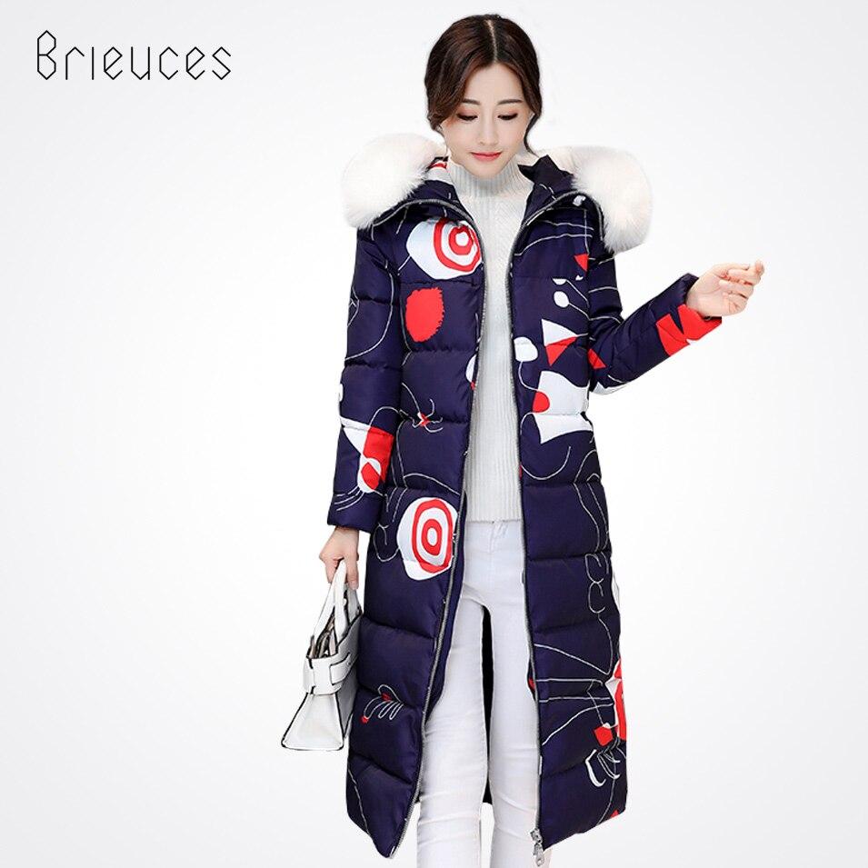 Brieuces autumn winter new casual long parka women solid print zipper hooded fur collar pocket winter cotton coat womenÎäåæäà è àêñåññóàðû<br><br>