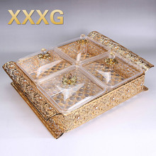 XXXG//Home Dry fruit lattice with cover European high-grade candy box transparent seeds snacks dried fruit plate wedding Alloy