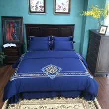 Blue Embroidered Luxury Bedding Sets Queen King Size Bedclothes Egyptian cotton Brand Duvet Cover Set bedsheet pillowcase