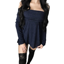 Autumn Sexy Womens Off Shoulder Long Sleeve Knitwear Mini Dress Top Ladies Knitted Pullover Sweater Strentch Strapless Dress(China)