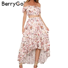 BerryGo Off shoulder ruffle print summer dress suit Sexy crop top asymmetrical long dress Two-piece suit robe femme vestidos