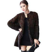 ZDFURS * New style mink jackets mink knitted fur coat o-neck medium-long mink coat real mink clothes for women