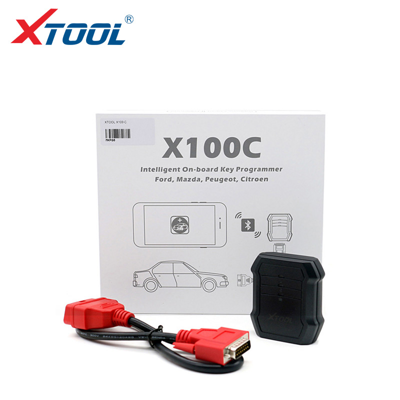 2017 Professional X100C Auto Key Programmer for Ford/Mazda/Peugeot/Citroen 4 in 1 pin code reader Xtool X100C for Android IOS(China)