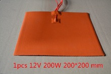 Silicone heating pad heater 12V 200W 200mmx200mm for 3d printer heat bed 1pcs