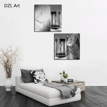 Unframed 2 sets Abstract Sand Clock Modern Canvas Wall Art Home Wall Decor HD Picture Print Painting On Canvas Artworks(China)
