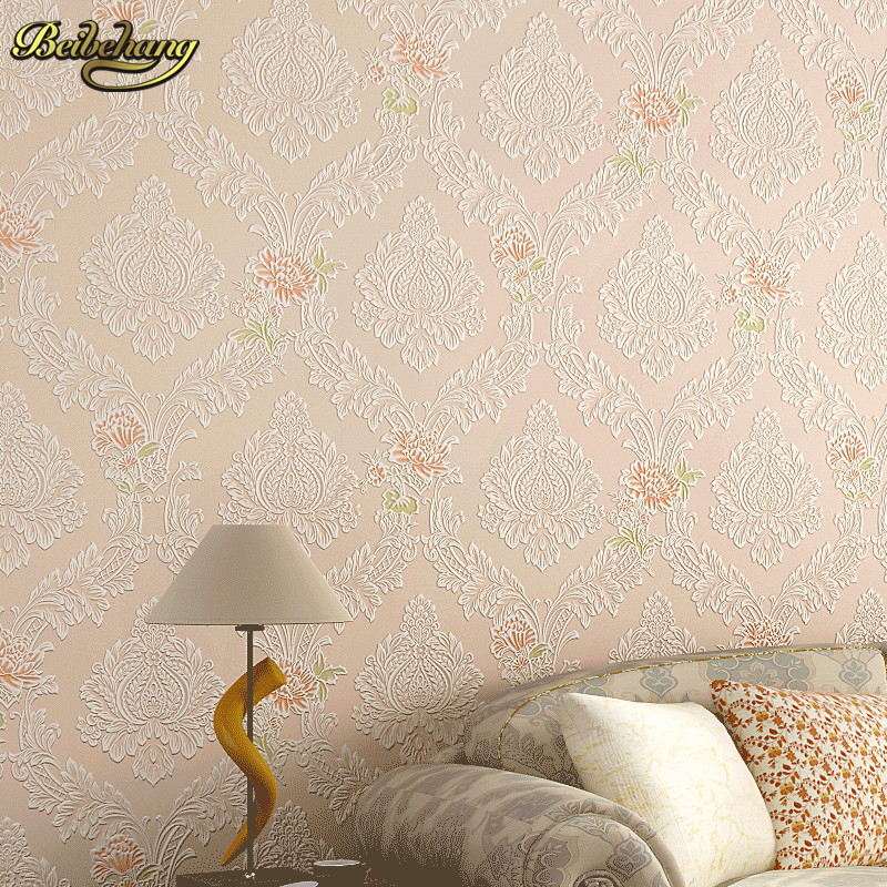 beibehang European pastoral relief Wallpapers papel de parede 3D Wall Paper Roll Living Room Wallpaper for Walls Vinyl Contact<br>