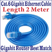 5pcs/Lot New 6FT 2M CAT6 CAT 6 Round UTP Ethernet Network Cable RJ45 Patch LAN Cord 1000M Gigabit ethernet cable, Free&Shipping
