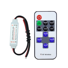 DC5-24V wireless mini led controller dimmer 11key RF remote control For 3528 5050 Single Color LED Light Strip free shipping