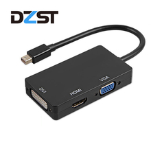 DZLST Mini DP to HDMI DVI VGA Adapter 3 In 1 Hub Mini DisplayPort 1080P Video Adapter Converter For iMac Apple MacBook Pro Air(China)