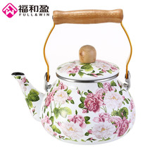 1.5L Korea Style kettle Portable Enamel Tea pot Can Be Used On Electromagnetic Oven Or Natural Gas With Wooden Handle(China)