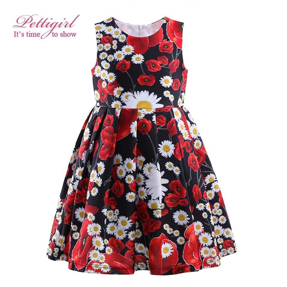 Pettigirl Lastest Kids Summer Flower Dress For Infant Girls Print Red Dress Kids Costumes GD81004-41Z<br><br>Aliexpress