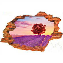 Romantic Lavender Maple Tree 3d broke wall art stickers home decorations living room bedroom wedding removable pvc wallpaper