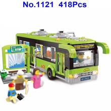 1121 418PCS City Bus Station Enlighten Building Block Brick Toy(China)