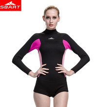 SBART Neoprene Wetsuit Women 2MM One Piece Long Sleeve Rubber Swimsuit Womens Spearfishing Surf boating Swim Diving Wet Suit N(China)