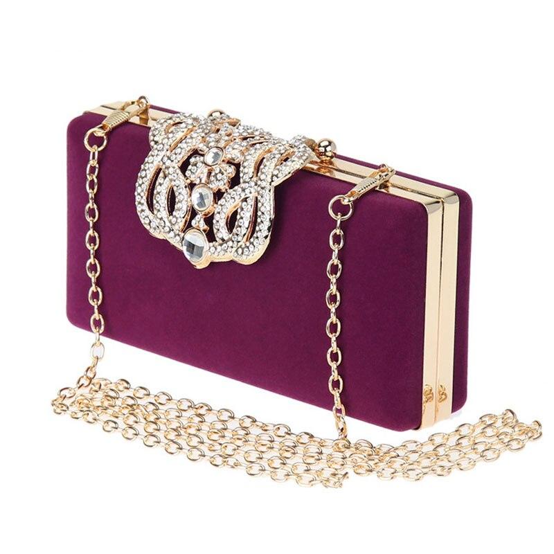 Women Luxury Rhinestones Evening Bags Clutch Fashion Velvet Wedding Party Handbag Purse for Ladies Chain Messenger Bags <br>