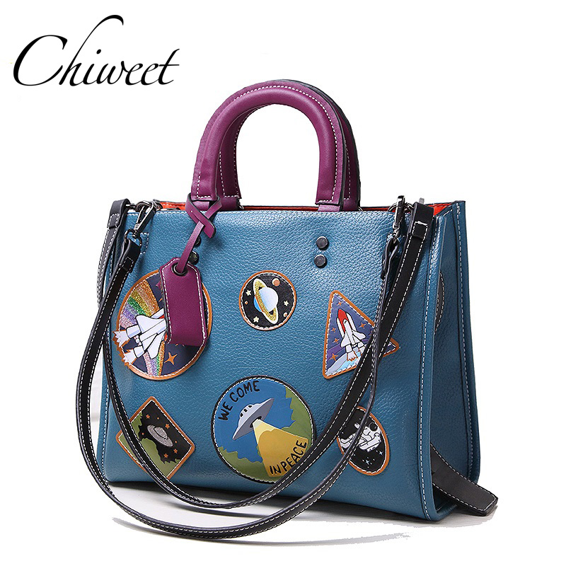 Brand Women Rocket Space Bag Designer Handbags Leather Panelled Tote Patch Bags Female Large Square Shoulder Messenger Bag Big<br>