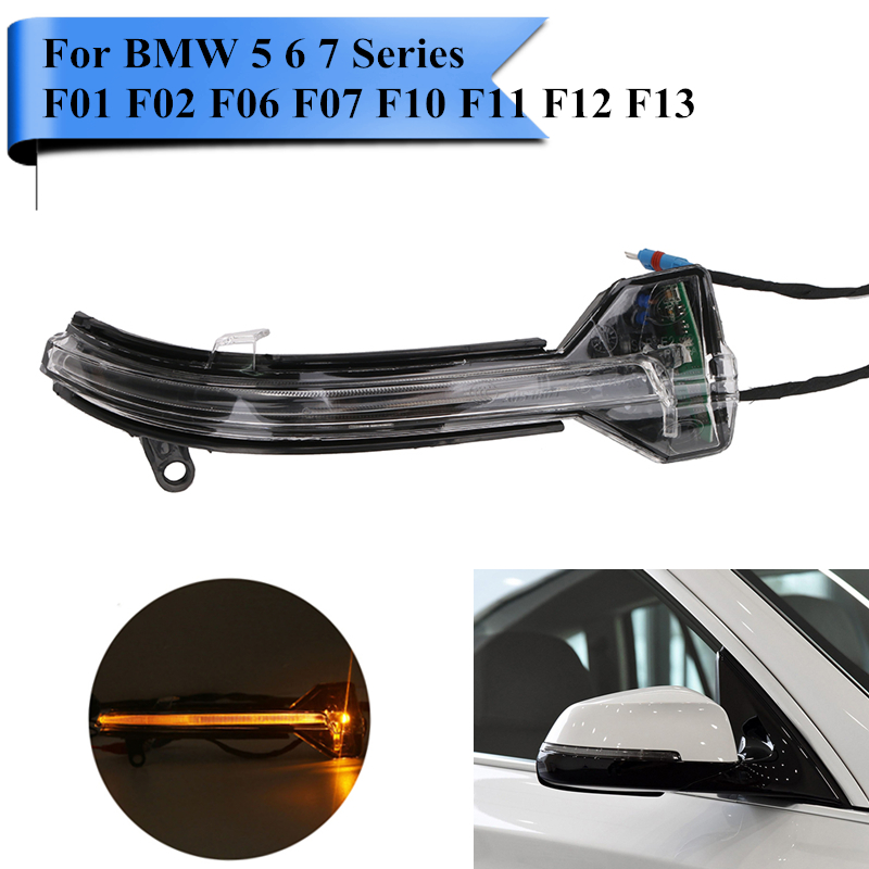 Right LED Rearview Side Mirror Indicator Turn Signal Light Direction Blinker Lamp For BMW F10 535i 550i ix F01 F07 F02 #WN179-R<br>