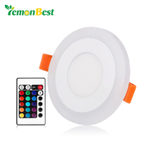 Ultra Slim 3/6/12/18W Round Concealed Dual Color LED Panel Light Cool White Lamp Acrylic Downlight AC 110 220V(China)
