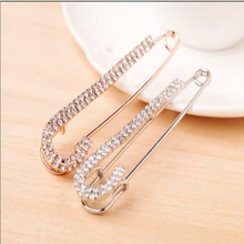 Trendy Rhinestone Alloy Brooch Gold Silver Color Pins for Women Safty Pin Jewelry Fashion Garment Accessories