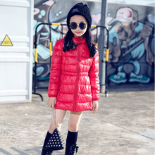 2017 New Down & Parkas Long Solid Color Zipper Hooded Children White Duck Down Light and thin 3-12 Age Girls Winter Parka