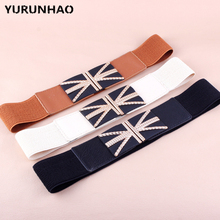 Alloy Union Jack Buckle Multicolor Women's Belts Cummerbunds Tie Brand Casual Women Girls PU Fabric knitted Girdle Accessory