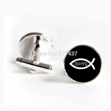 2017 Free Shipping Christian Fish Cufflinks Ichthus Cuff links Jesus Cufflink Shirt Cufflinks For Mens(China)