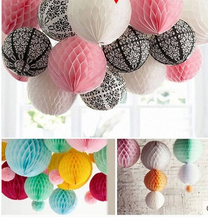 "Wholesale Multi Color  Size 6"" (15cm)  Honeycomb Ball Paper Lanterns Wedding Kids Birthday Party Decorations flower balls"