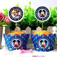 Cupcake Wrappers Topper Cake Pick Mickey Mouse Cartoon Boy Kid Birthday Party Baby Shower Wedding Cake Decoration Supplies 24pcs