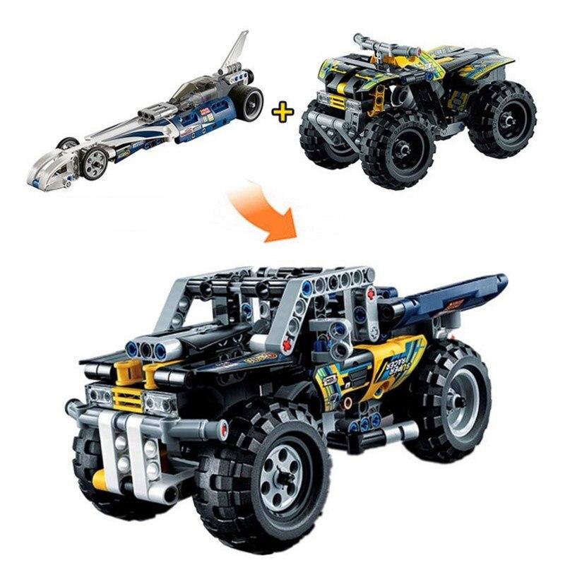 Decool 3415 &amp; 3416 Record Breaker Pull Back Racing Car &amp; Quad Bike Building Block DIY Bricks Kids Toys compatible <br><br>Aliexpress