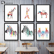 NICOLESHENTING Watercolor Zebra Deer Minimalist  Canvas Poster Print Nordic Art Abstract Picture Painting Home Room Decoration
