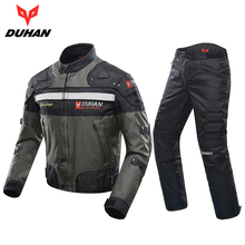 DUHAN Windproof Motorcycle Racing Suit Protective Gear Armor Motorcycle Jacket+Motorcycle Pants Hip Protector Moto Clothing Set(China)