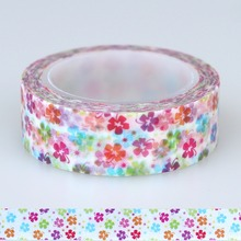 1X 15mm Tape red,pink,orange,blue and green colors flowers Print DIY Sticker Decorative Masking Japanese Washi Tape Paper 10m