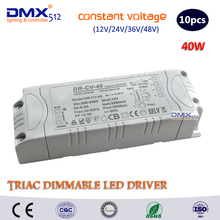 DHL free shipping 40W Dimming transformer Input AC100- 240V output DC12V/24V Triac Dimmable driver supply for led lamps dimmable