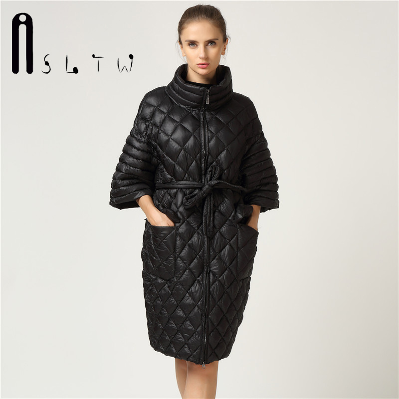 New Arrivals Women Autumn Winter Parkas Slyn Waist Long Coat Fashion Plus Size Leisure Coat Bat Sleeve Pearl Cotton Ladies CoatsÎäåæäà è àêñåññóàðû<br><br>