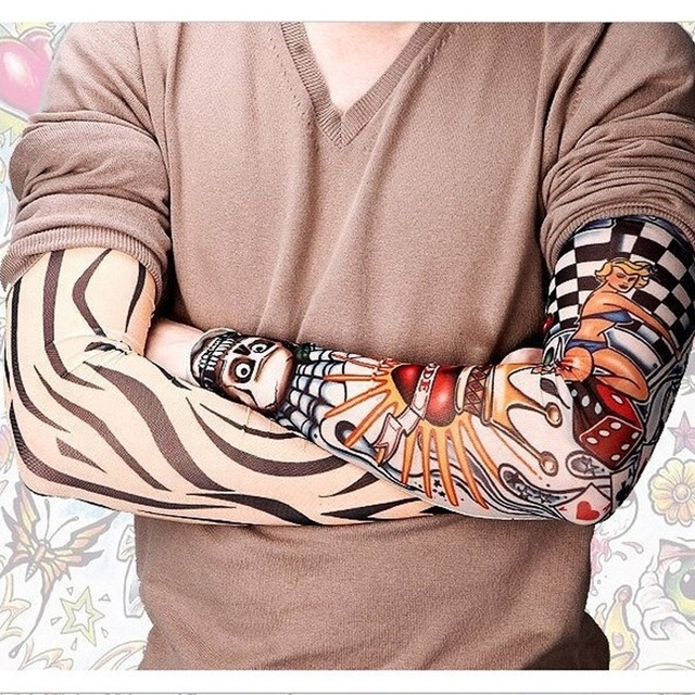 Fashion 2 Pcs Lot Punk Men Women Uv Sunscreen Skull Theme Fake Tattoo Sleeves Multicolor