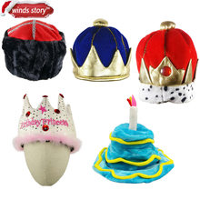 NEW 1pcs Boys King Crown Kids Plush Costume Hat Royal Dress Up Kings Halloween Party birthday carnival Decorative cap hat(China)
