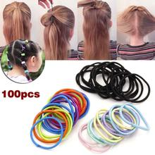 100 Pcs Kids Girl Elastic Hair Bands Ponytail Holder Head Rope Ties Headwear Hair Styling Accessories unique Scrunchie