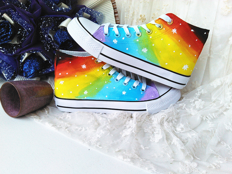 Sapatas De Lona Rainbow Painted  Canvas Shoes For  men 2017 Lovers Design Rubber  Shoes<br><br>Aliexpress