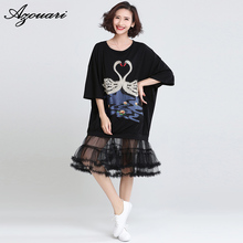 2017 summer new large size embroidered swan decoration stitching net yarn black bat sleeves loose fashion dress women clothing