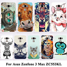 Silicon Plastic Cell Phone Cases For Asus Zenfone 3 Max ZC553KL Housing Covers Zenfone3 Max 5.5 inch Cat Tiger Lion Shell Bag