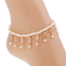New Charm Cheap Anklets for Women Jewelry Trendy Foot Jewelry Imitation Pearls Tassel Inlaid Crystal Ankle Chain
